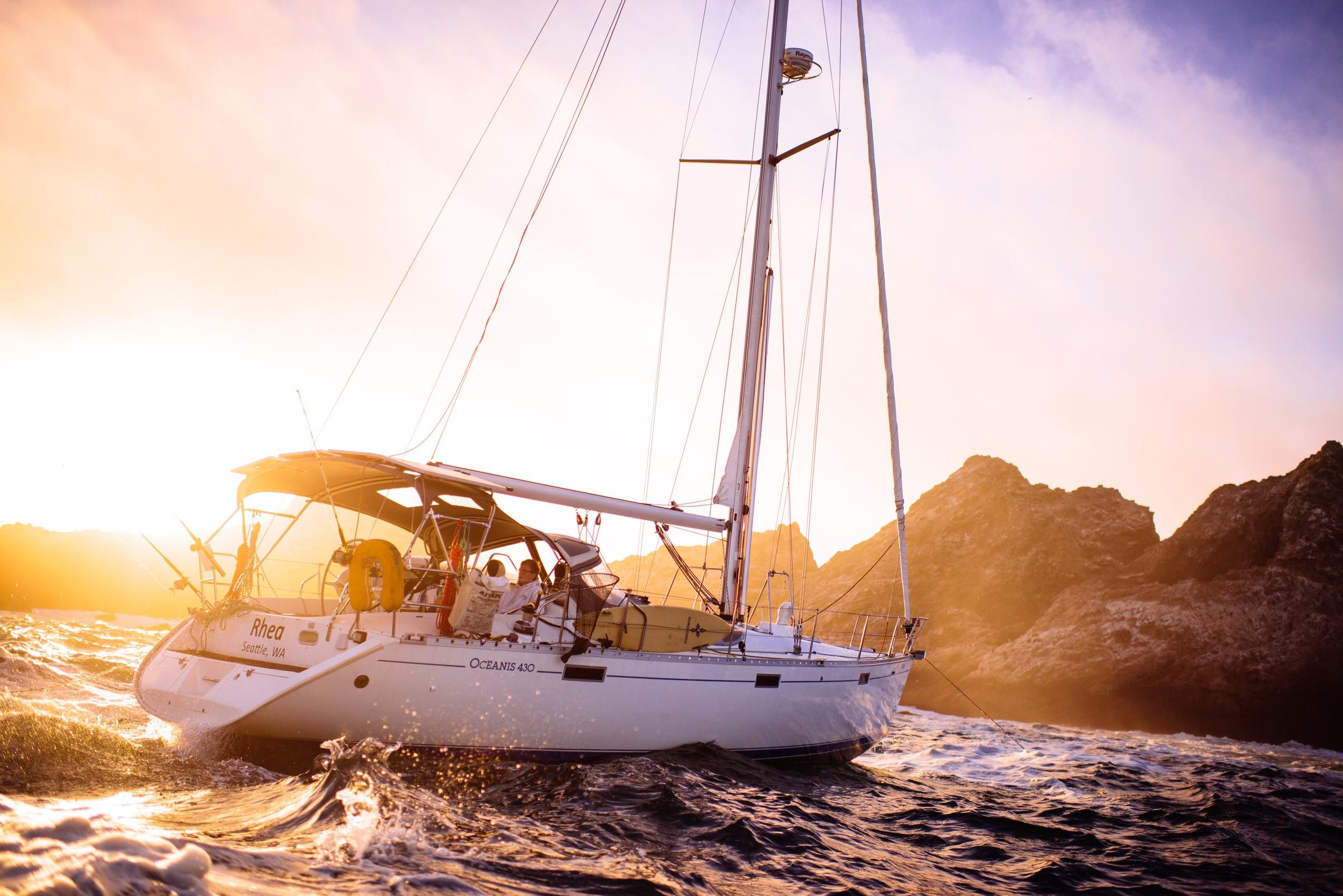 S/V Rhea  Anchored near the Farallon Islands.