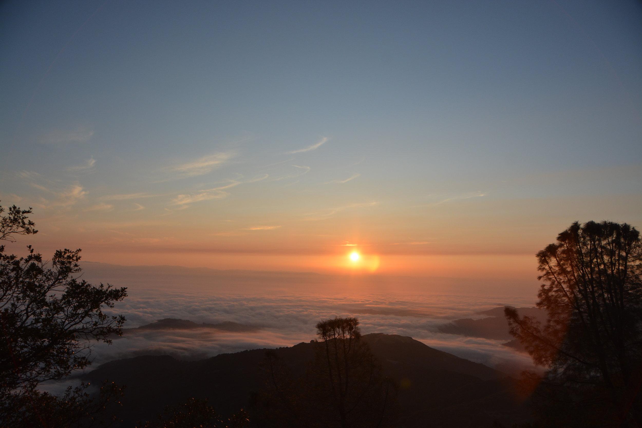 Sunrise from the summit of Mt. Umunhum. Photo courtesy Annie Burke.