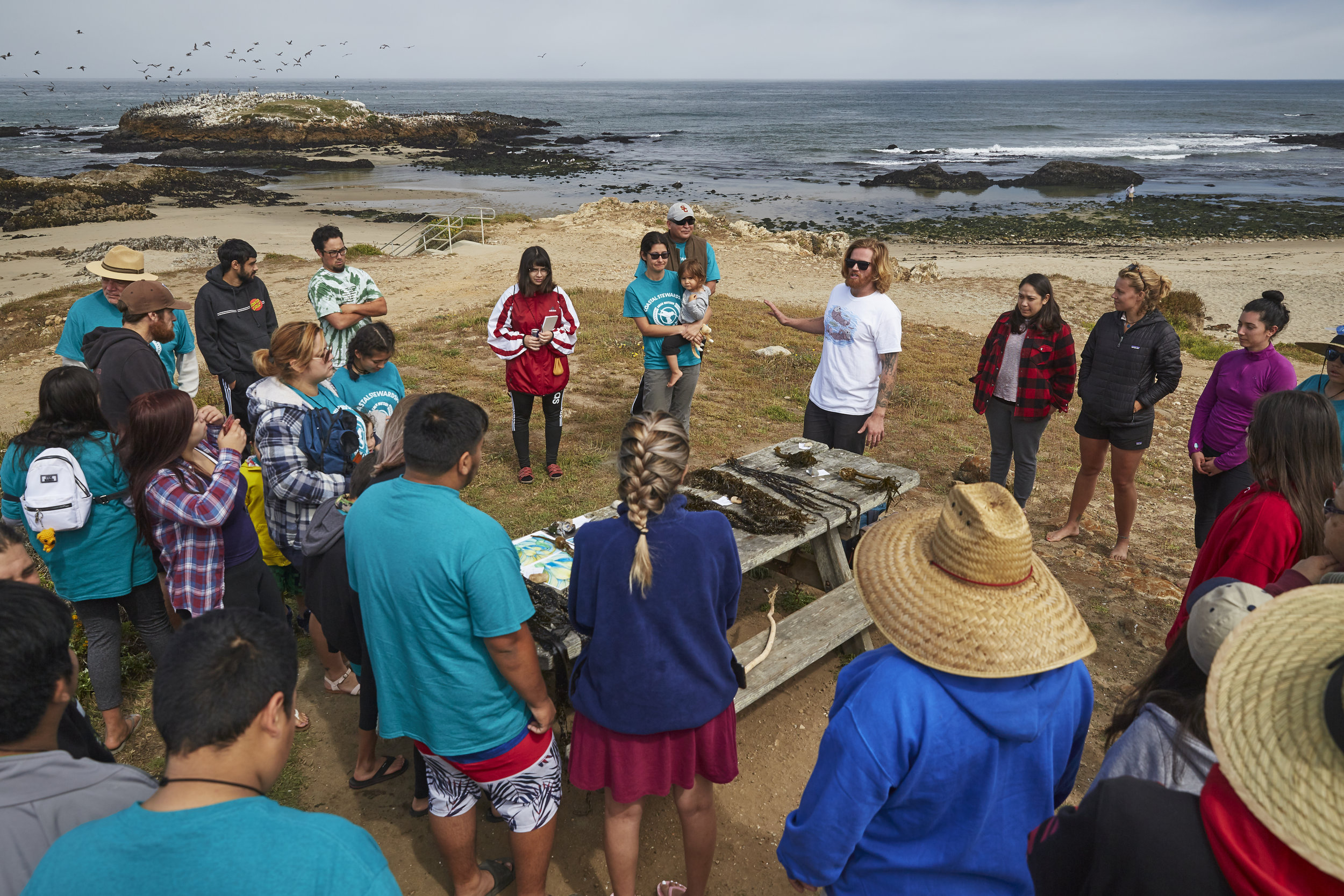 Amah Mutsun youth campers and UC Berkeley researchers getting ready for a day at the beach. Photo courtesy of Rob Brodman