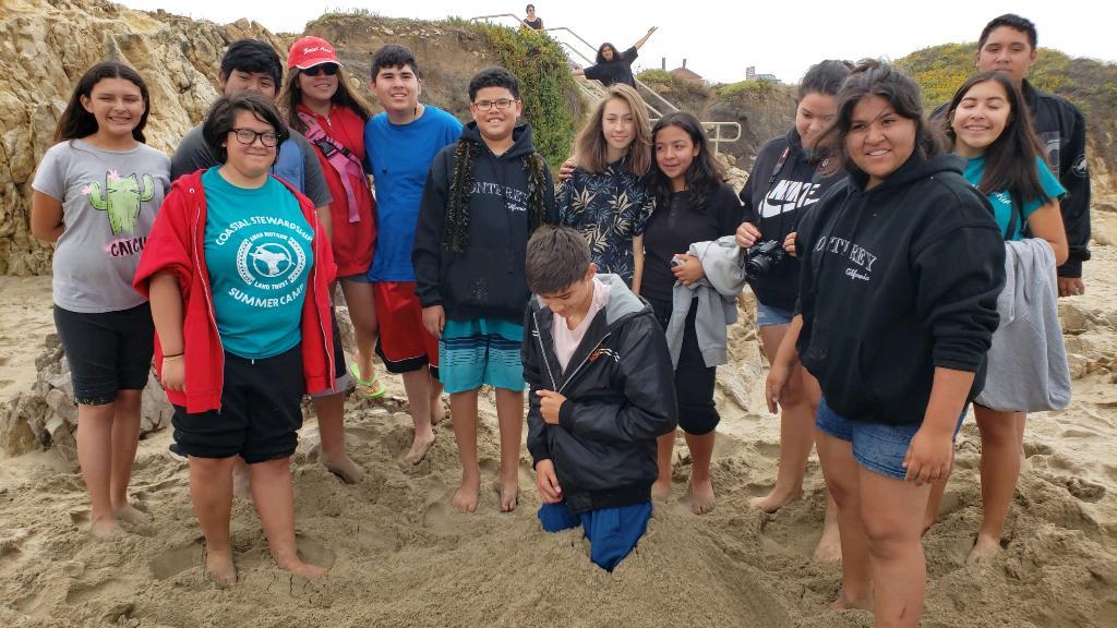 Amah Mutsun youth at Pescadero Beach during AMLT Coastal Stewardship Summer Camp