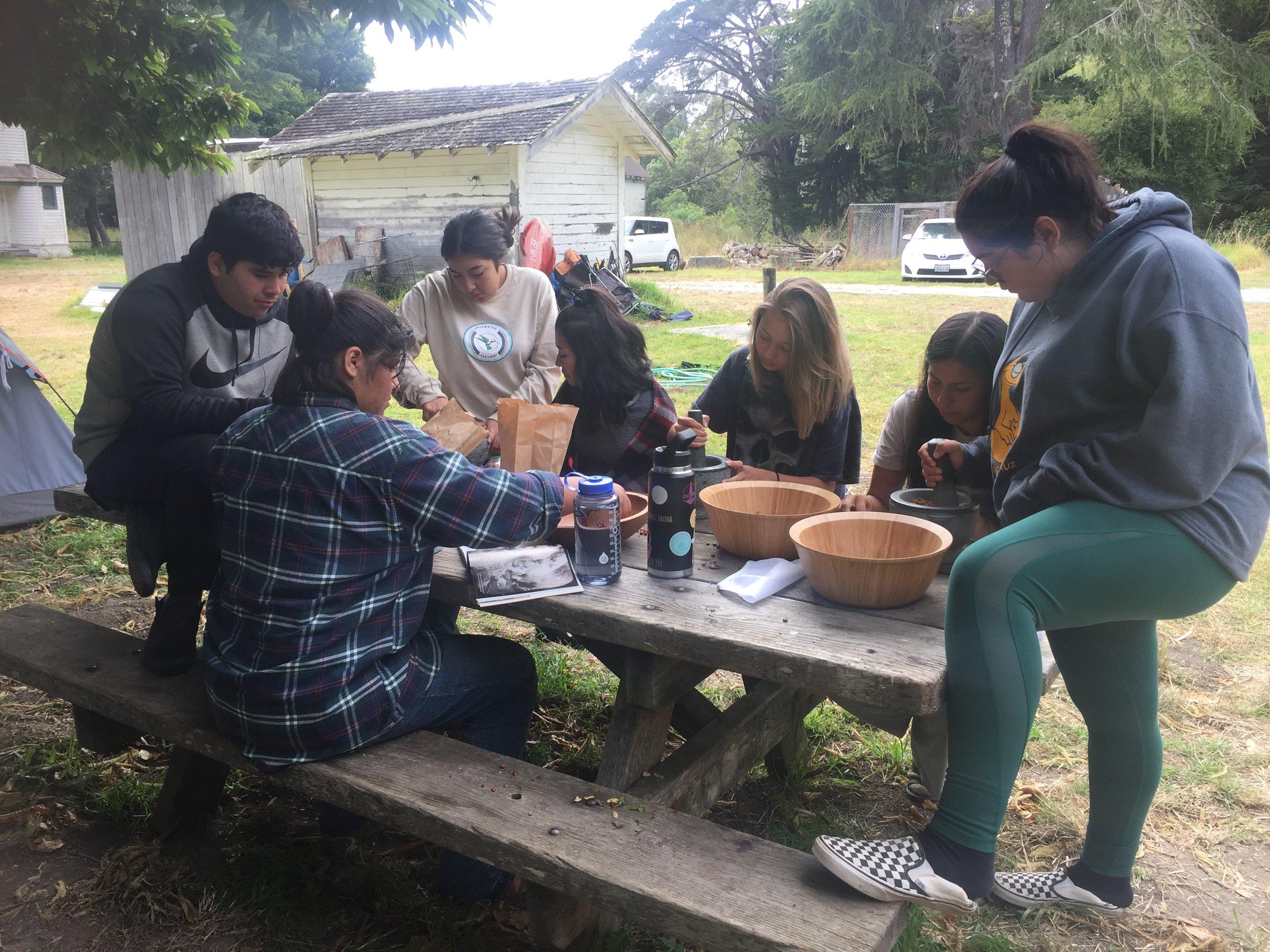 Amah Mutsun youth learning how to make manzanita cider during the internship program.