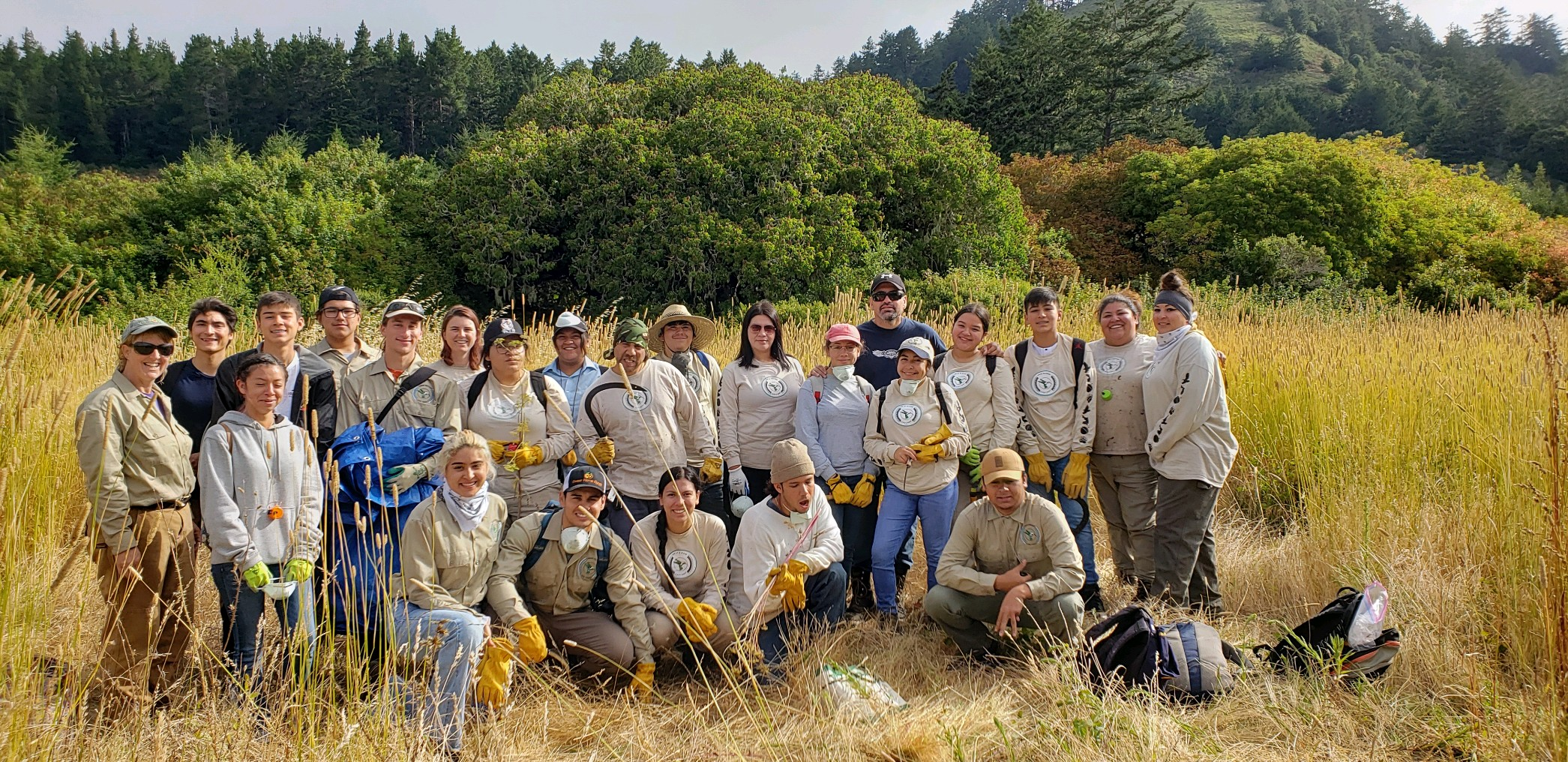 AMLT Native Stewards and interns after a day of poison hemlock removal.
