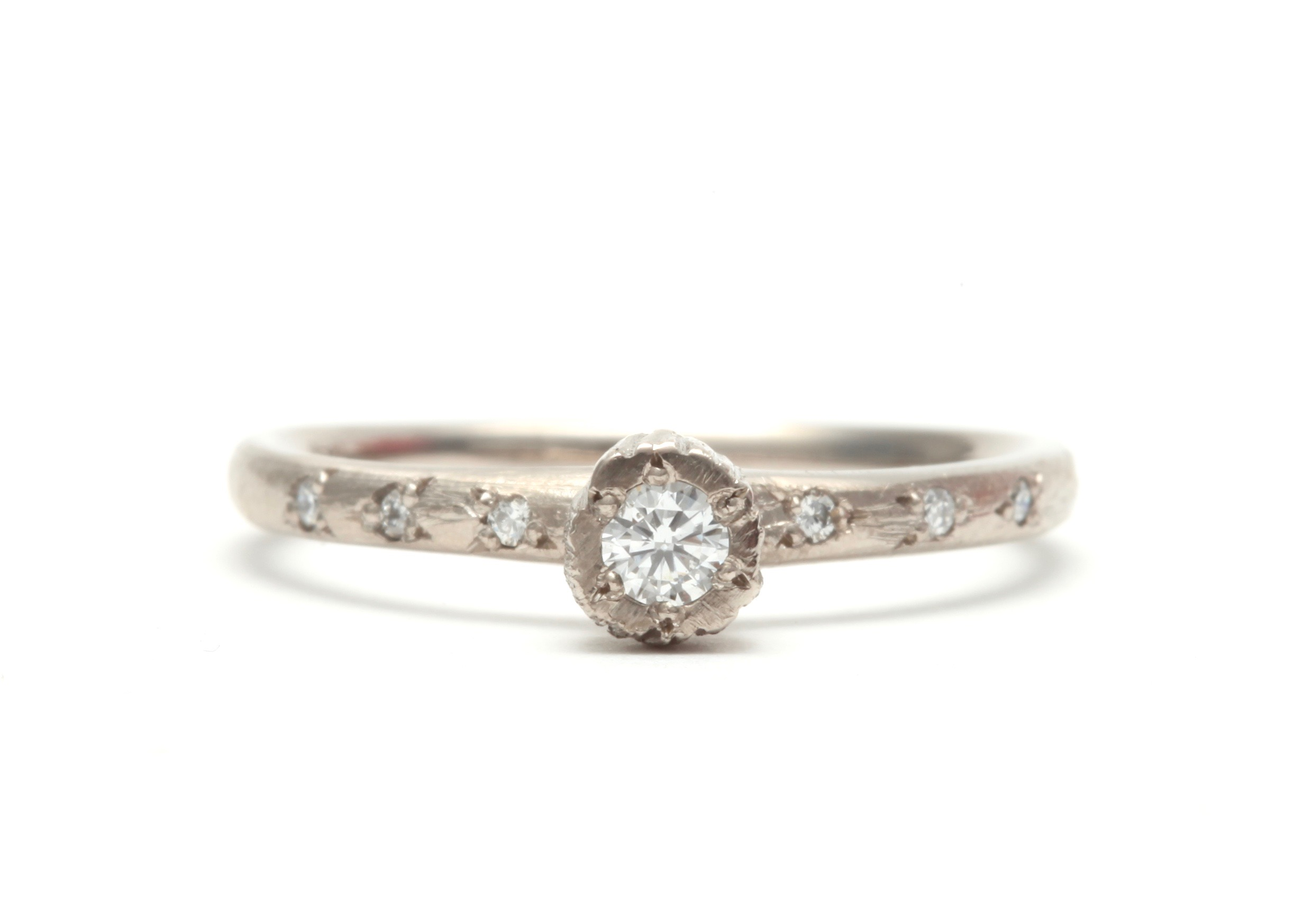 Precious Little Rock Ring in white gold with white diamonds - available through  Pieces of Eight