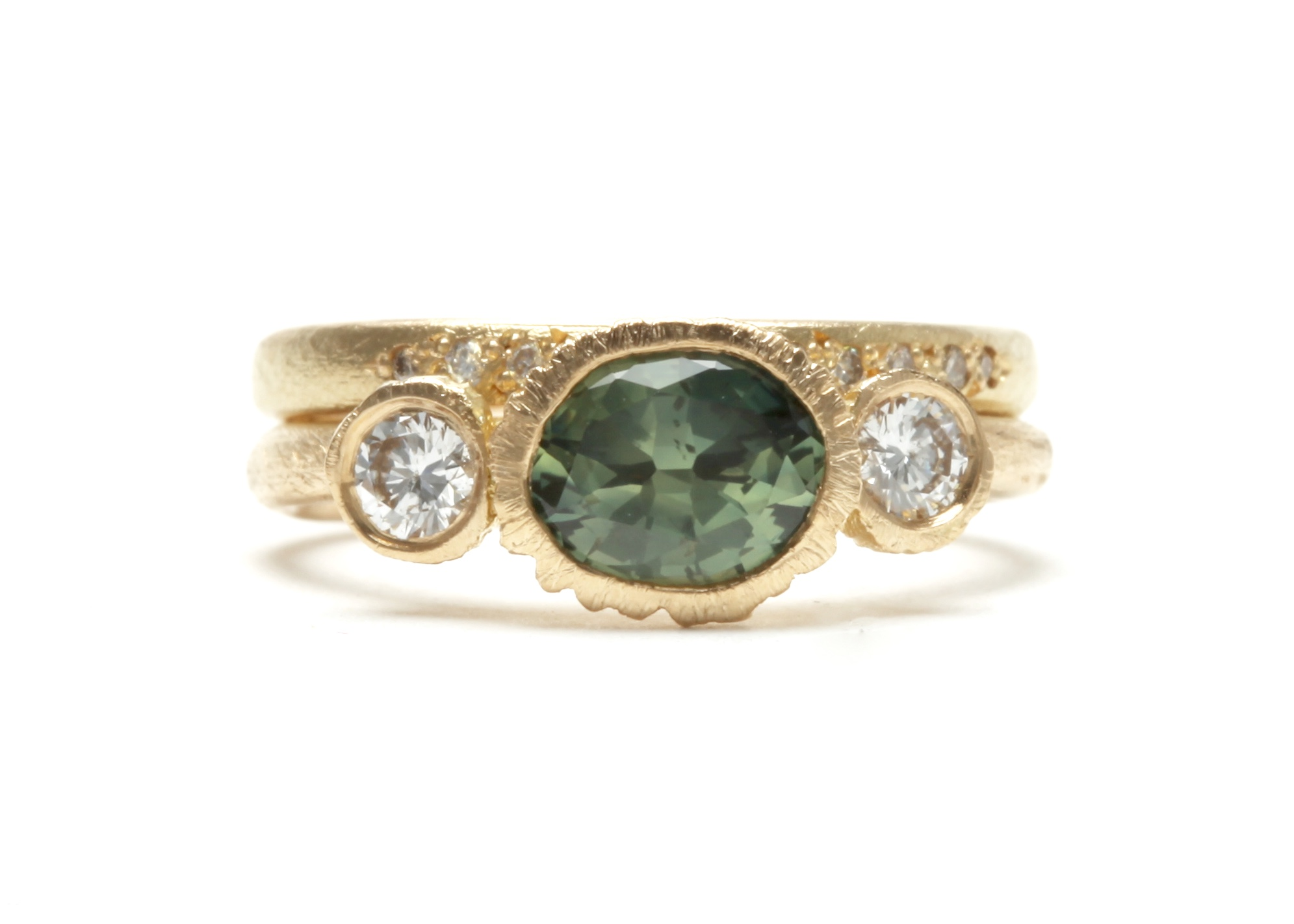 Big Rock Pool Ring in 18 carat yellow gold with Australian (NSW) Parti Sapphire and white diamonds, available through  Pieces of Eight.