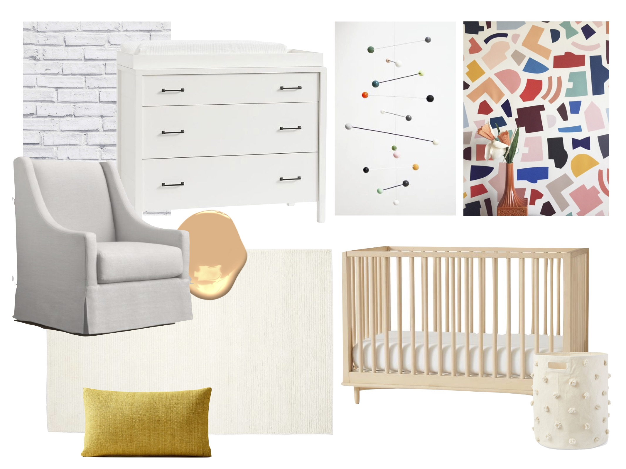 Chair  /  Dresser  /  mobile  (similar) /  wallpaper  /  crib  /  hamper  /  rug  /  pillow