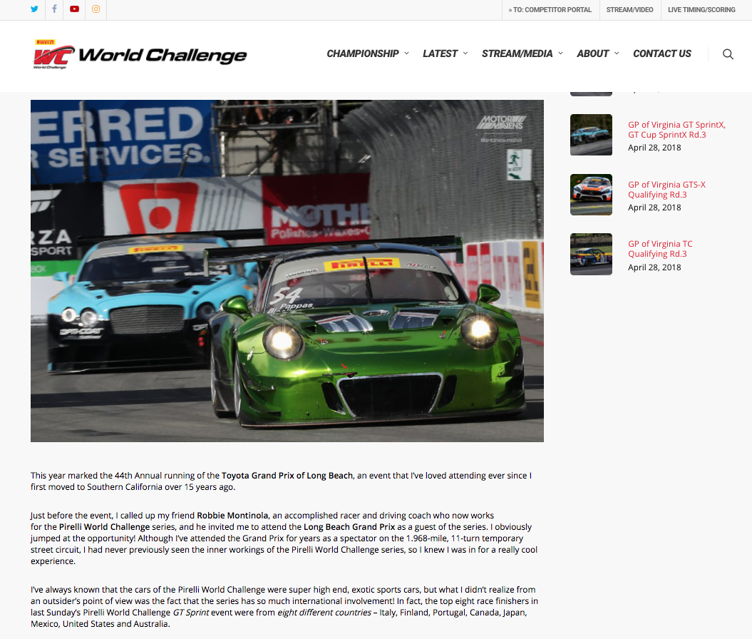 Pirelli World Challenge & MotorMavens Long Beach Grand Prix story