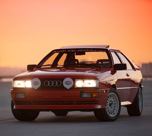 It's no secret. I absolutely love red cars and Southern Cali sunsets. 😍  For more pics of my friend @nutschell's rare, gorgeous Audi Quattro, click the link in @MOTORMAVENS bio or here: https://hubs.ly/H0kPPg60  📸: @antoniosureshot #MOTORMAVENS #FCPeuro #SonyAlpha #SonyA9 #SigmaArtLens #audilovers #europeancar #quattroworld #sema