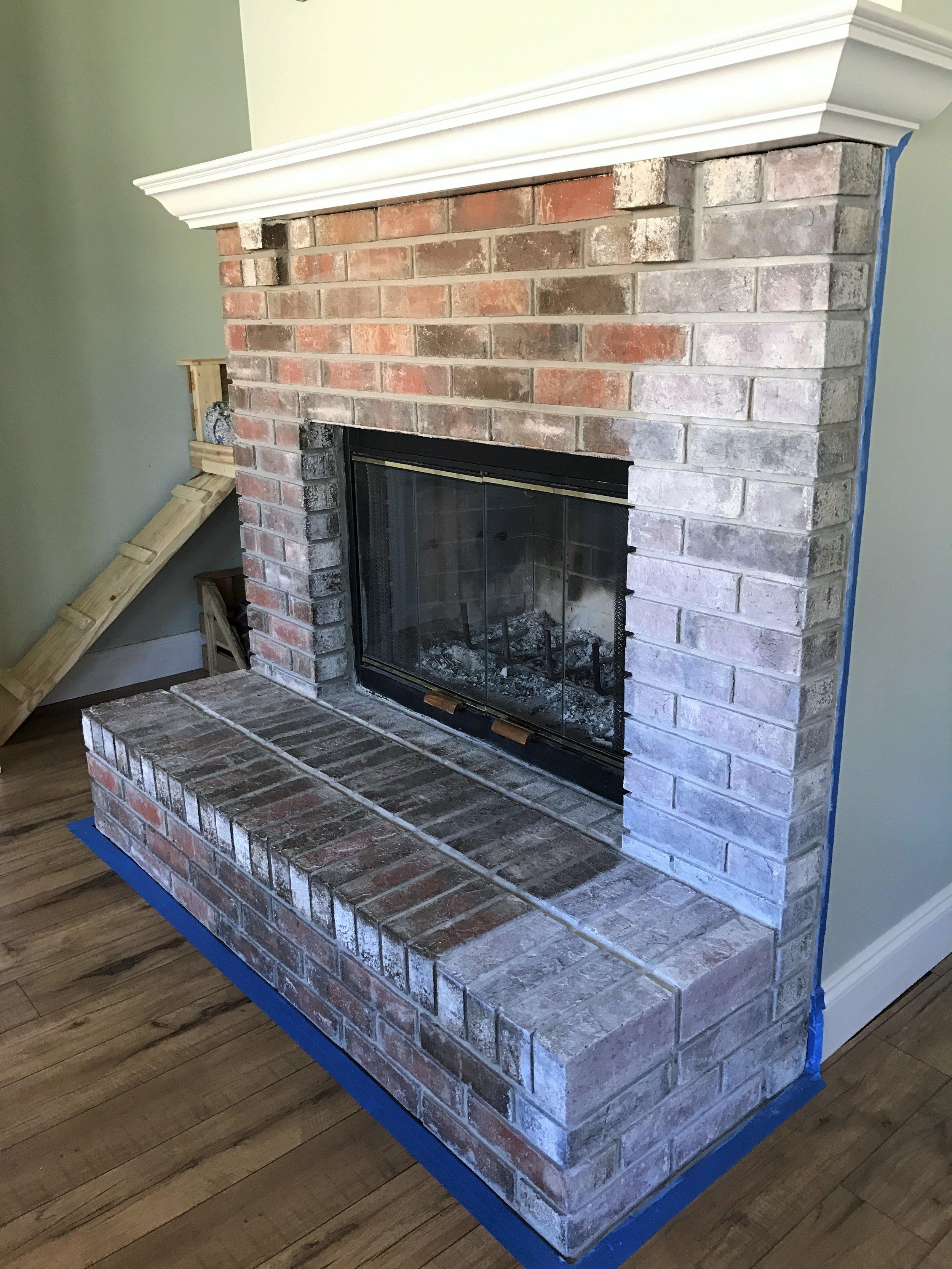 How to Whitewash a Brick Fireplace | This Hiatus