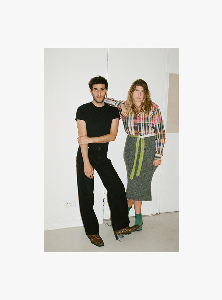 American designers Mike Eckhaus and Zoe Latta of Eckhaus Latta, recognized for their gender-fluid styles and abstract shapes. - Photography &Interview by Sarah Levett