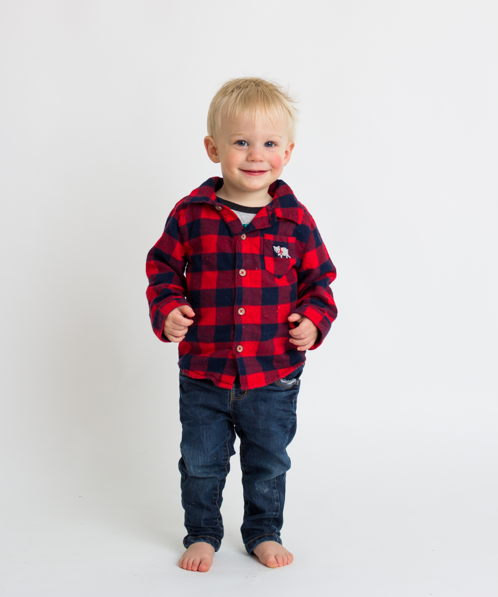 boy in plaid in studio  belleville family photographer