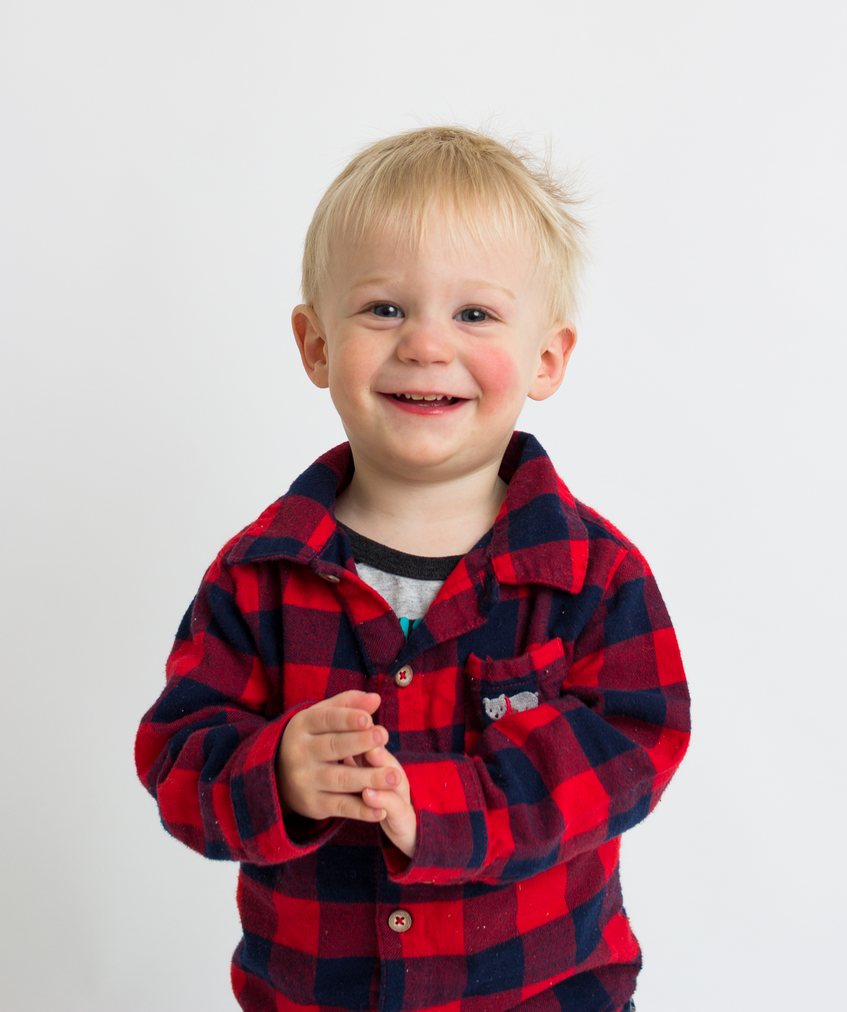 boy in plaid smiling in studio  belleville family photographer