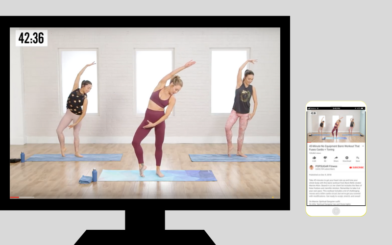 Using a push device like the  Apple TV  allows you to watch or listen to any media that is playing on your IOS device or mac computer onto your big screen TV. My favourite way of working out at home is to browse the endless selection of YouTube workout videos (totally freeee!) on my phone and push them onto my cinema screen essentially turning my living room into an exercise studio. It's perfect when you're housebound and still want to exercise. Most exercise routines don't need a lot of space and as long as I can fit a yoga mat, then I find I have enough room.