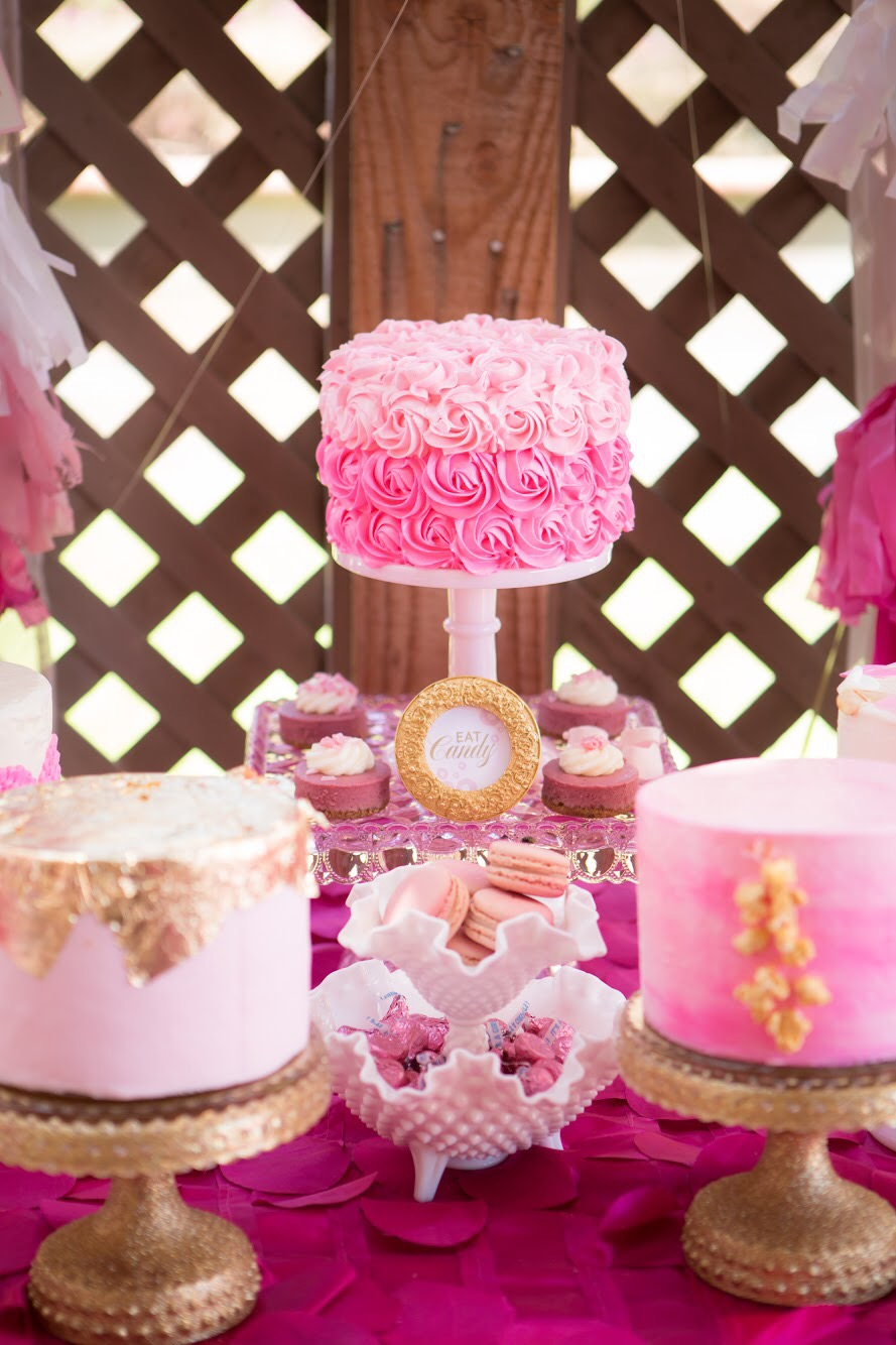 Pink ombre gold foil baby girl showers custom cakes.Nicole Bakes Cakes is a Southern California boutique cake designer specializing in artistic, unique, out of the box cakes and desserts for weddings, birthdays, anniversaries, showers, and events throughout Los Angeles, South Bay, and Long Beach.