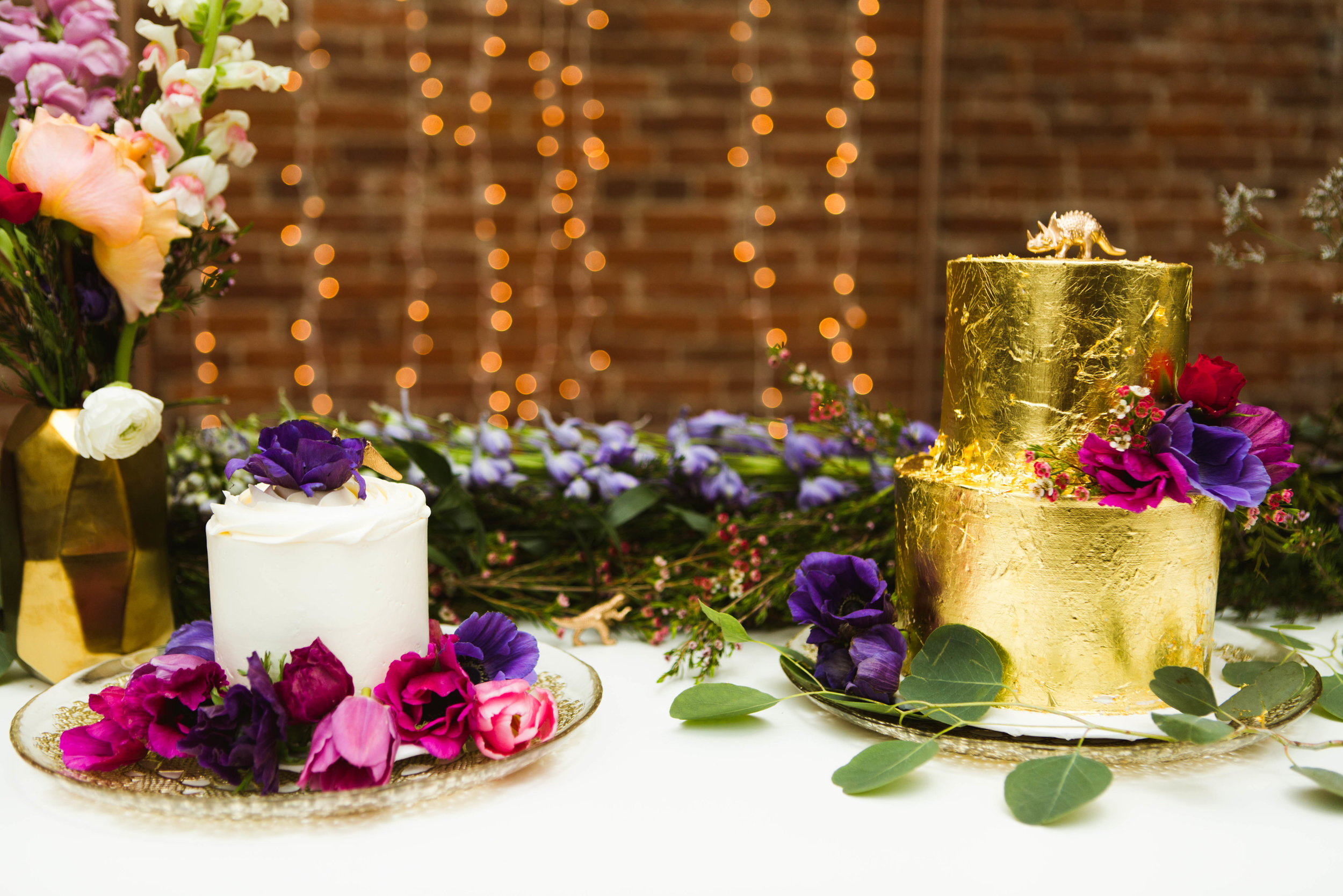 Gold foil and floral custom wedding cake design. Nicole Bakes Cakes is a Southern California boutique wedding cake designer specializing in artistic, unique, out of the box wedding cakes and desserts throughout Los Angeles, South Bay, and Long Beach.