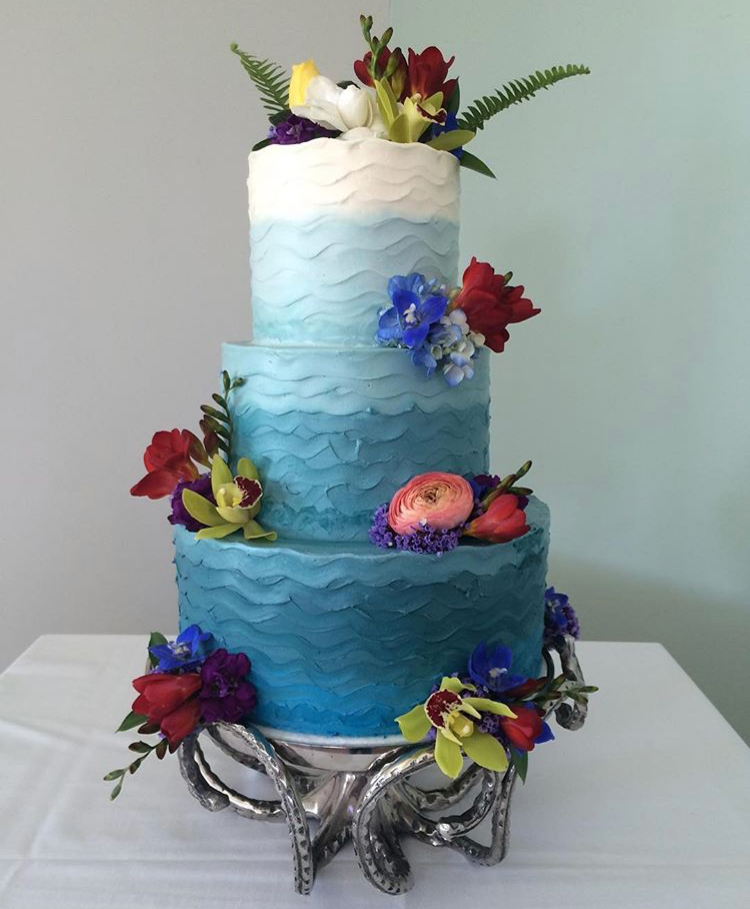 Three tiered ombre ocean themed custom cake.Nicole Bakes Cakes is a Southern California boutique cake designer specializing in artistic, unique, out of the box cakes and desserts for weddings, birthdays, anniversaries, showers, and events throughout Los Angeles, South Bay, and Long Beach.