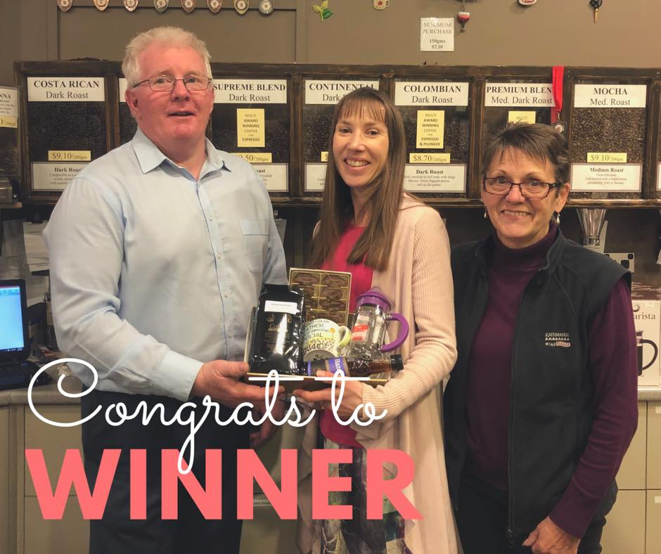 Our winner of the  Coffee Plus  coffee and chocolate hamper is pictured collecting her prize from business owner Marie Crombie and Center Manager Brett McGrath.  Congratulations Claire Knowles, we all hope you enjoy your brew and chocolates.