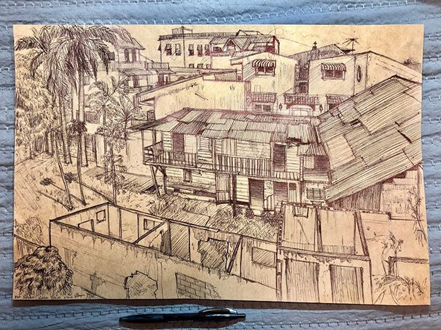 "For Diyana.  Casco Viejo, Panama City, Panama, 3/2019.  Hidden behind the restored and repainted facade of the historic buildings in Casco Viejo were pockets of forgotten structures. Now just shells and skeletons, edvidence of lives lived.  Also, I drew this with a crappy ballpoint and butcher paper used for wrapping sandwiches, that's like the equivalent of John Wick killing three men with a pencil ✏️ 😵😵😵. Just saying.  Just kidding, but there is something about newsprint and butcher paper that just makes me want to sketch.  12""x16"" #art #artist #artoftheday #doodle #sketch #bic #sketchoftheday #dailysketch #sketchbook #illustration #drawing #draw #dailyart #penandink #pen #ink #ballpoint #instagood #instaart #illustration #panama #panamacity #cascoviejo #cascoviejopanama"