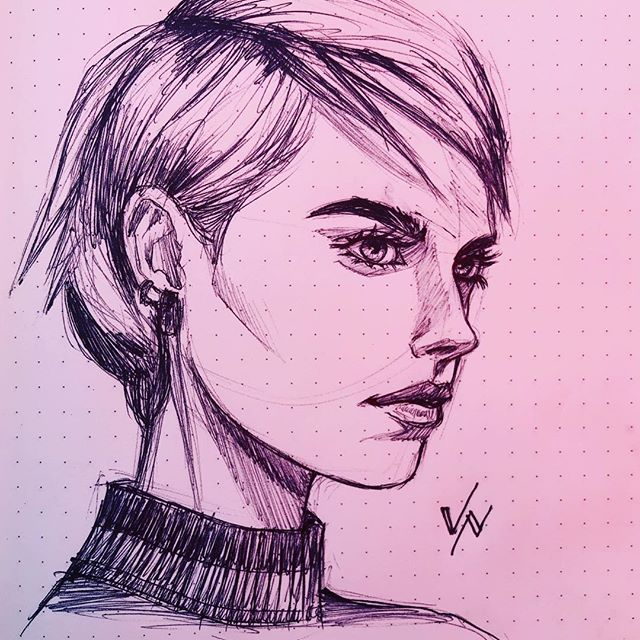 I have such a hard time drawing portraits facing to the right.  I usually get around this digitally just by flipping the image, but there's no work around drawing traditionally.  #meetingdoodle #meetingdoodles #girlart #art #artist #artoftheday #doodle #sketch #sketchoftheday #dailysketch #sketchbook #inksketch #inksketches #illustration #drawing #draw #dailyart #penandink #pen #ink #ballpoint #instaart #illustration #caradelevingne #portraitdrawing #portraitsketch