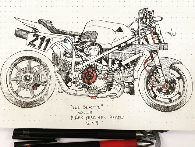 Here's a really crappy sketch of a really amazing motorcycle.  I can't get enough of this bike and love every post I see of it.  Built and raced by @wooliesworkshop at this year's Pikes Peak hill climb.  #meetingdoodle #meetingdoodles #art #artist #artoftheday #doodle #sketch #sketchoftheday #dailysketch #sketchbook #inksketch #inksketches #illustration #drawing #draw #dailyart #penandink #pen #ink #ballpoint #instaart #illustration #motoart #motoartist #deusemporium #pikespeak #pikespeakhillclimb #ducati #1098r #motorcycleart #motorcycles