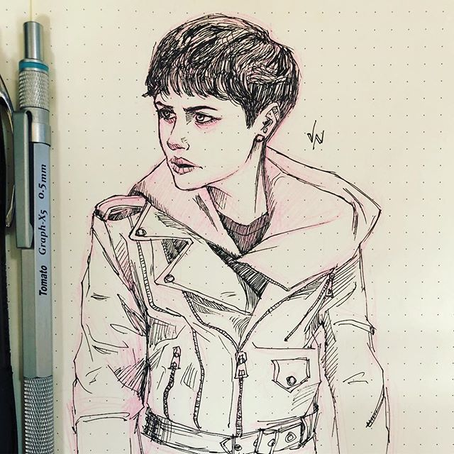 Me: draws something that is not relevant.  #meetingdoodle #meetingdoodles #girlart #art #artist #artoftheday #doodle #sketch #sketchoftheday #dailysketch #sketchbook #inksketch #inksketches #illustration #drawing #draw #dailyart #penandink #pen #ink #ballpoint #instaart #illustration #motobabe #caferacergirls #motolifestyle #motoart #motoartist #girlwiththedragontattoo #clairefoy #lisbethsalander