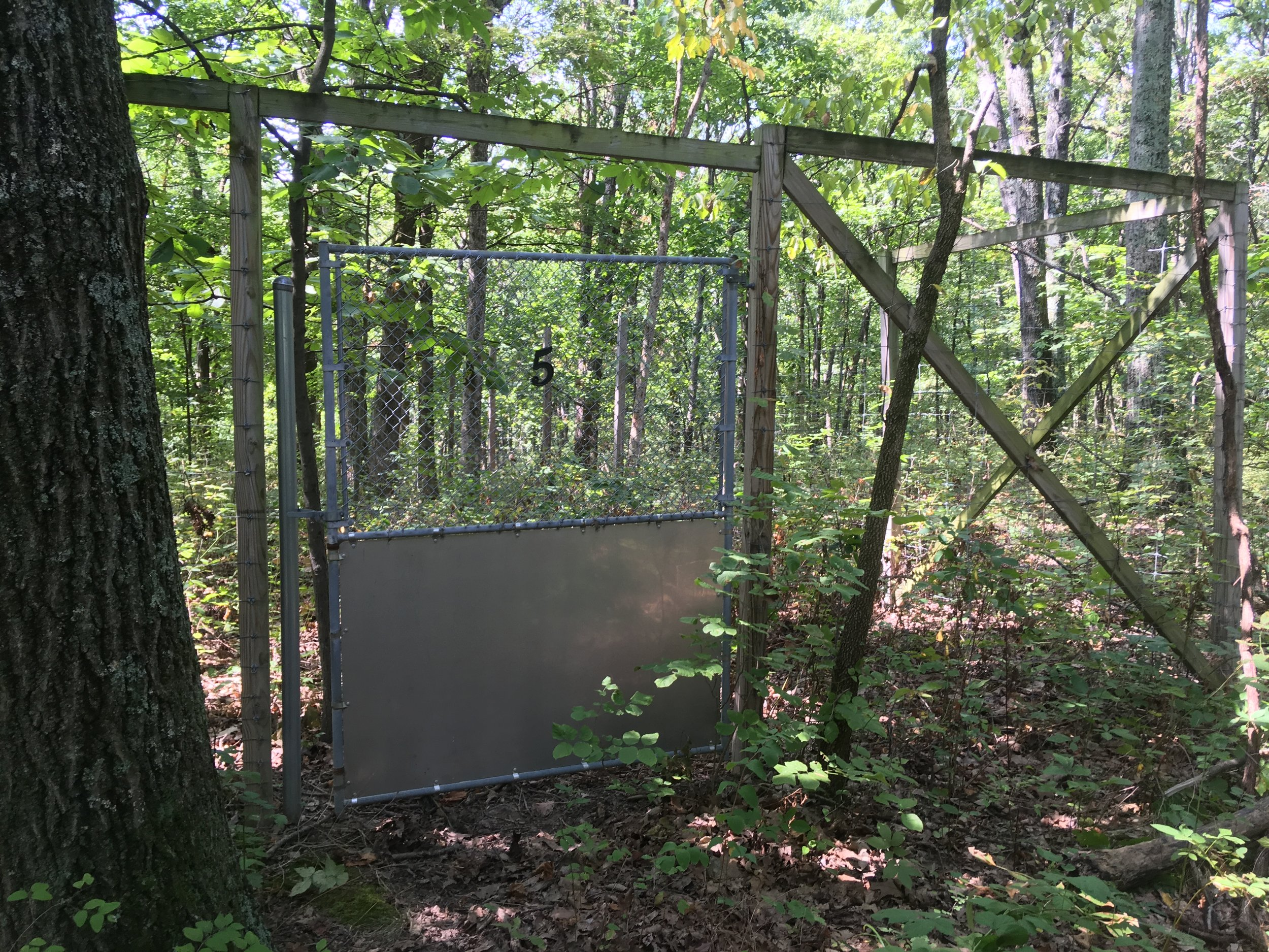 deer exclosures  We have 16 designated, paired 50m x 50m plots to study the effects of white-tailed deer exclusion on ecological systems. Each pair of plots consists of one 50m x 50m fenced exclosure (deer-free treatment) and an unfenced 50m x 50m adjacent plot (control group).