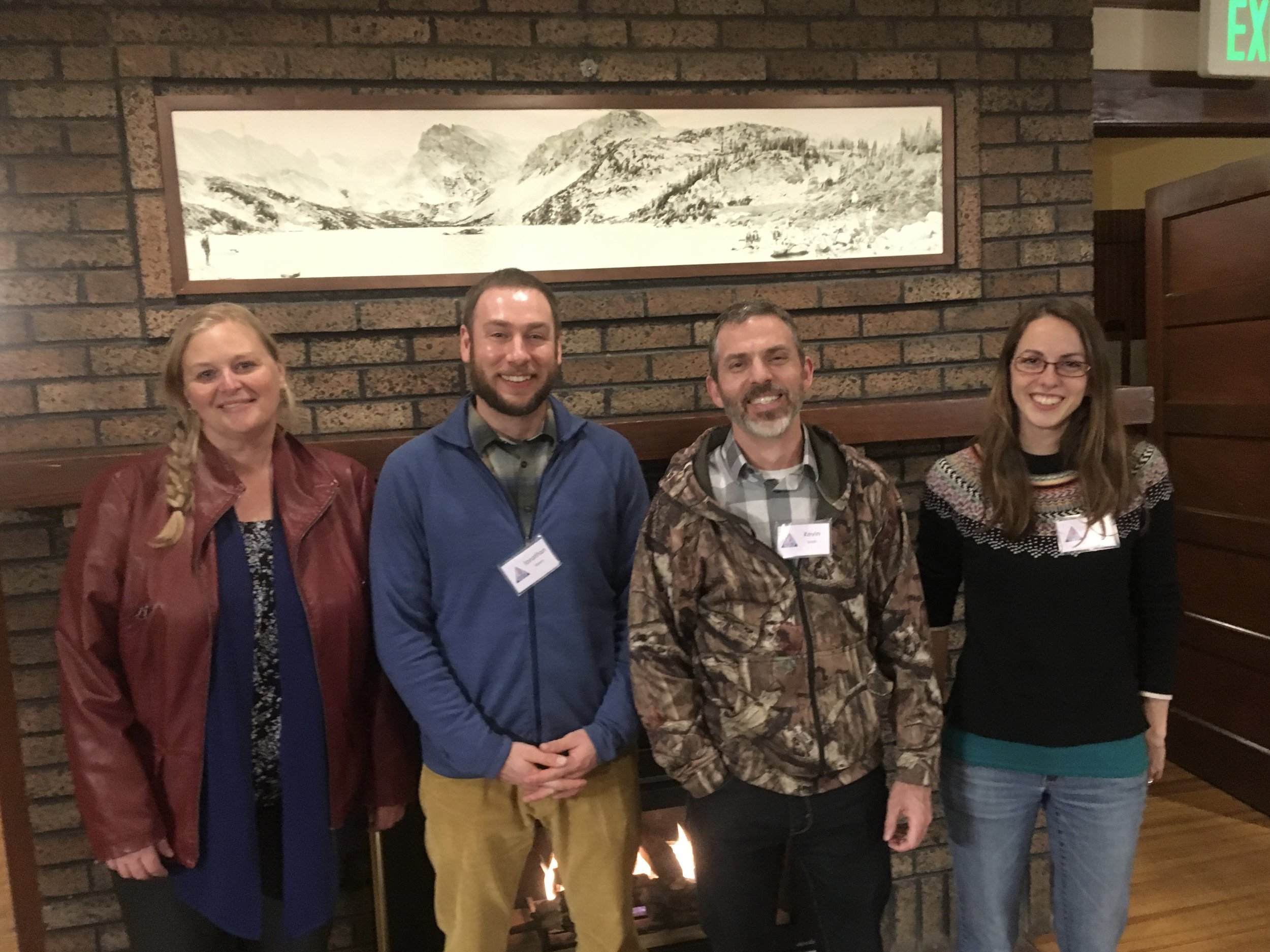 From left: Drs. Rae Crandall (former WashU postdoc, currently faculty at University of Florida), Jonathan Myers (current faculty at WashU), Kevin Smith (former director of Tyson, currently faculty at Davidson College), and Solny Adalsteinsson (current Tyson staff scientist)