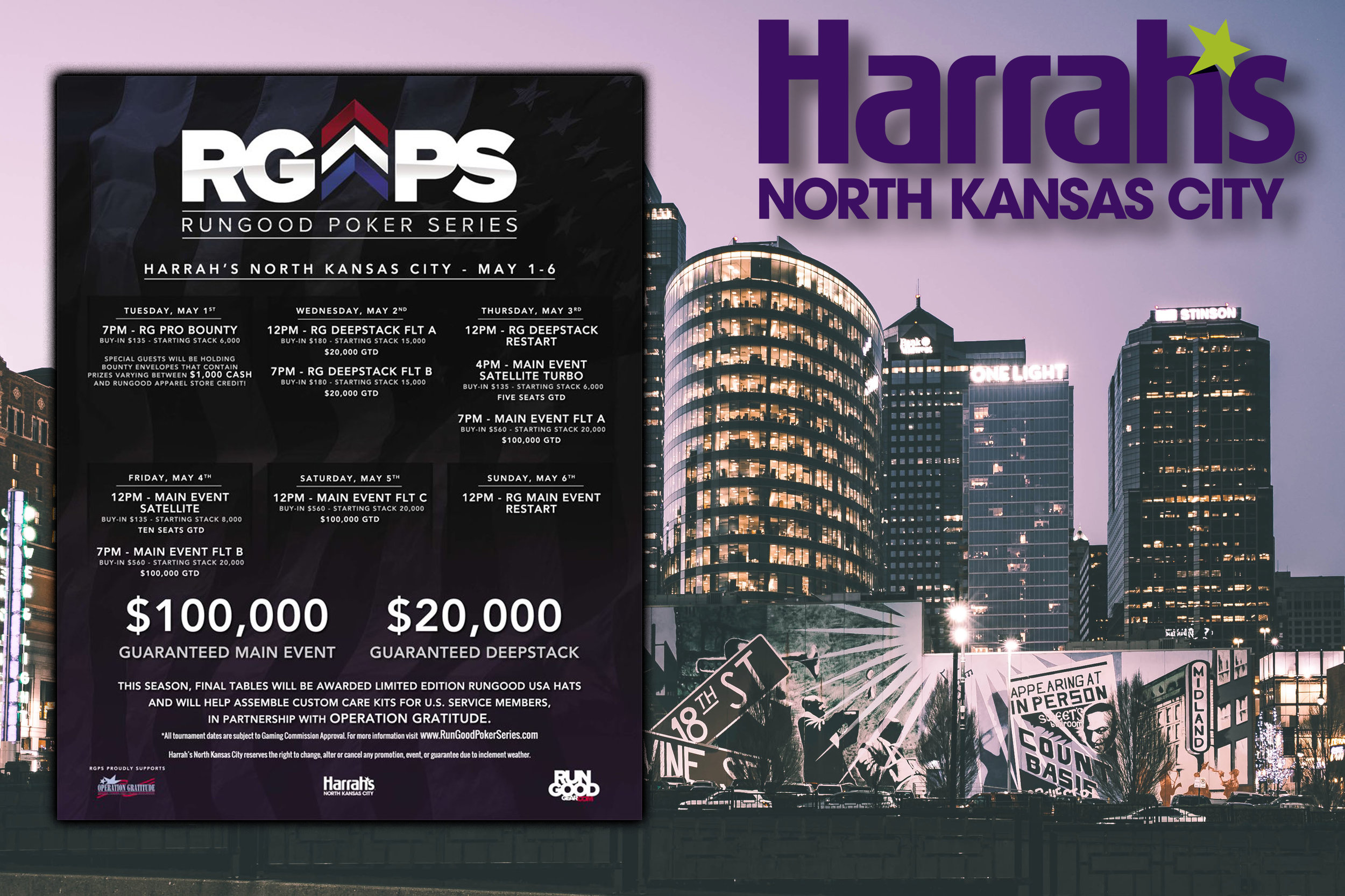 This graphic was used to promote the RunGood Poker Series Harrah's North Kansas City stop during the spring 2018 season.