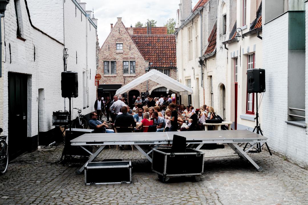 People celebrating, Bruges, Belgium