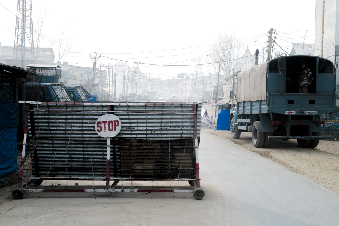 A police checkpoint, Srinagar, India