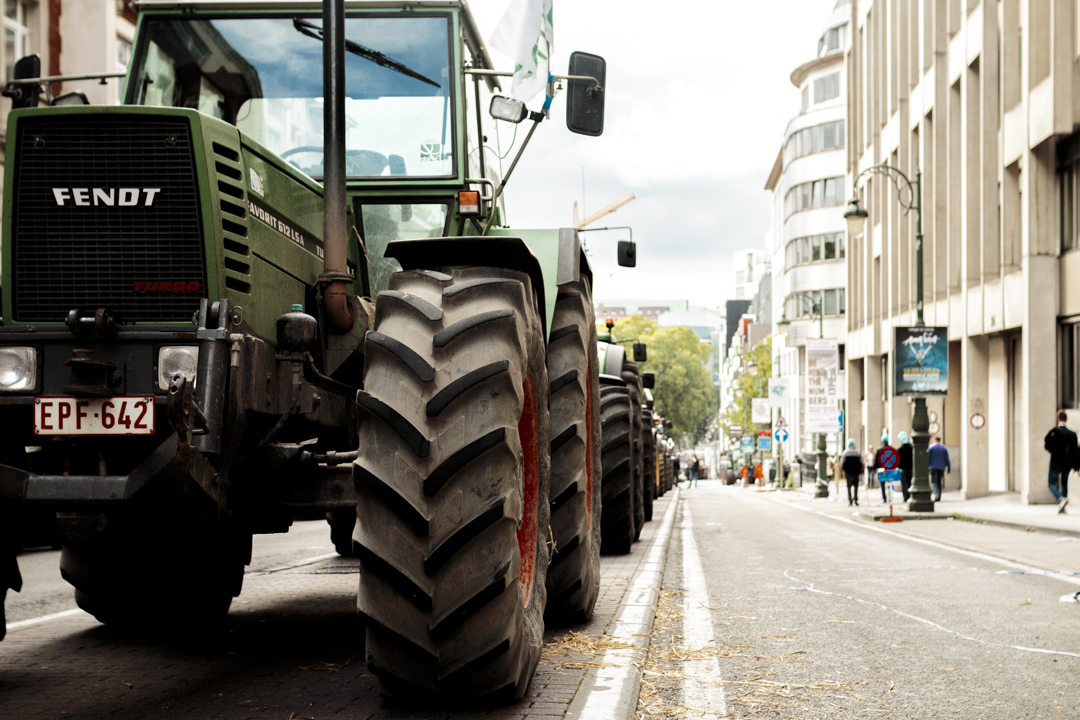 A tractor during a protest, Brussels, Belgium