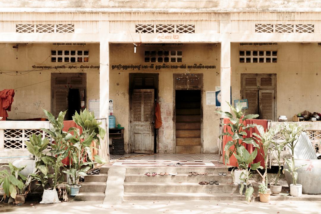 The entry of a monk dormitory, Battambang, Cambodia