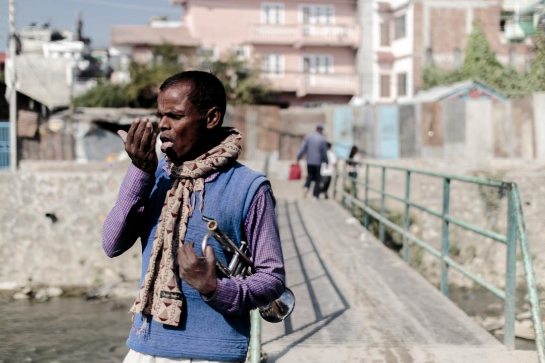 A man with a trumpet, Kathmandu, Nepal