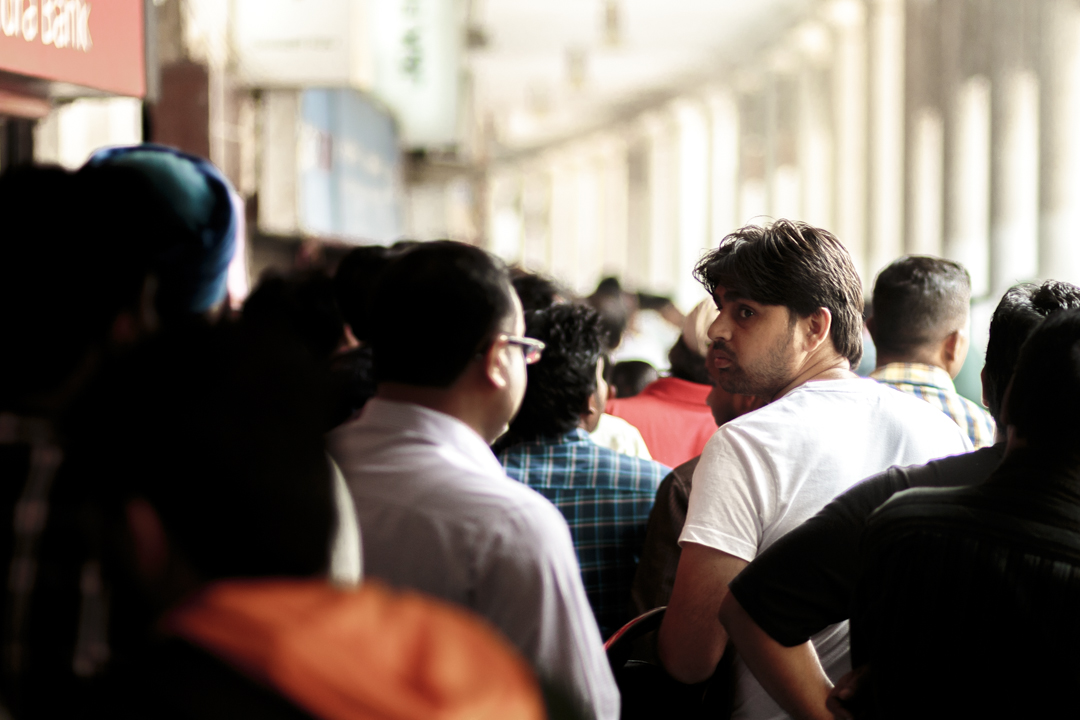 People queuing during the demonetization crisis, New Delhi, India