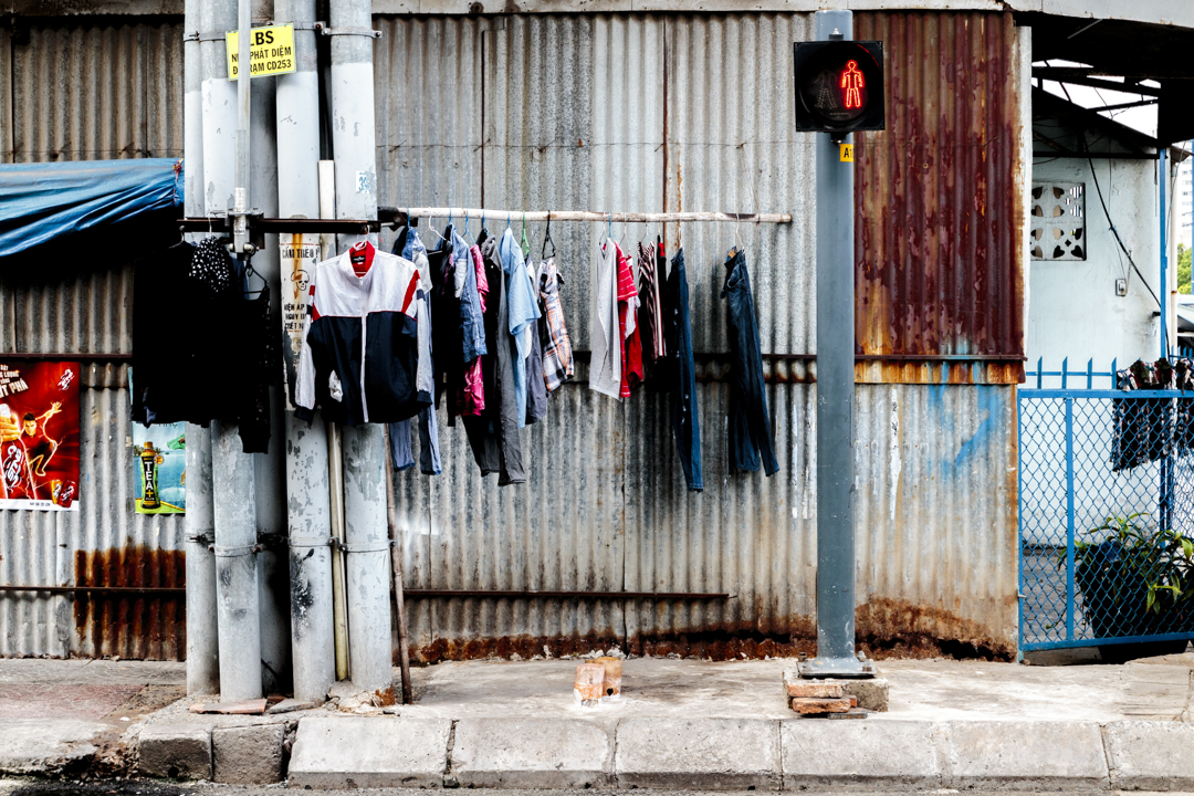 Clothes drying in the street, Vietnam
