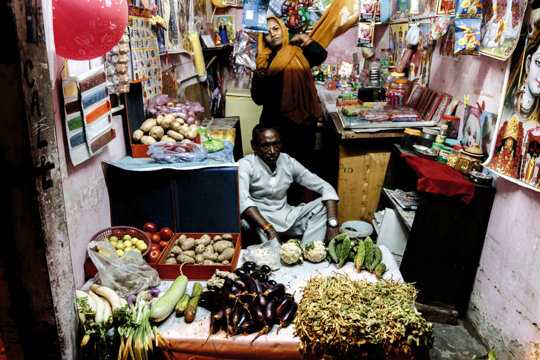 A man and a woman in a store, New Delhi, India