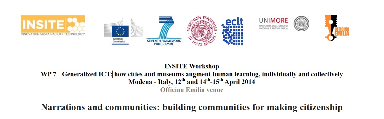 """Come to Venice is a case study at the European Workshop Narrations and communities, bulding communities for making citizenship, organize by INSITE, Porf. Margherita Russo, and Valentina Anzoise, at Officine Emilia, Modena University, 2014. INSITE is an EU Coordination Acttion whose goal is fostering the dialogue between researchers and practitioners on """"How to build a sustainable society, environmentally sustainable and socially responsable"""".  Benedetta Panisson talked about: making a message ambigous, deformation and information, emotional structures in an artistic approach/scientific approach, the importance of minority greoups in a community, the performative aspect of hooded people in the """"visibility era"""", sadian mechanism in Venice. Amerigo Nutolo talked about the first reaction of pleople living in Venice in front of the documentary, a family photobook that you prefer to keep in a closet even if you love every single image of it.   http://www.insiteproject.org/wp-content/uploads/2014/03/WorkshopINSITE_Modena_12-14-15April_final.pdf"""