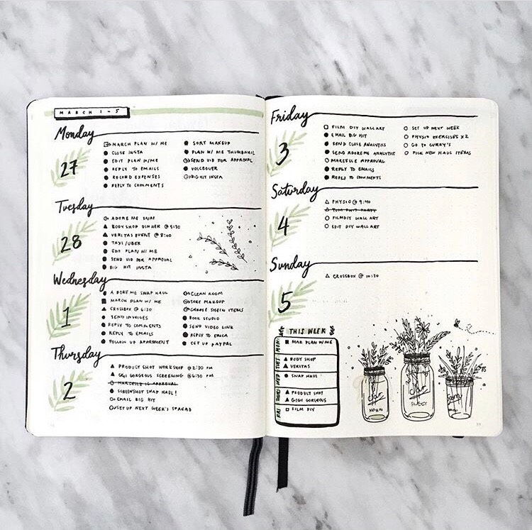 Weekly log with a plant theme by @amandarachlee (Instagram)