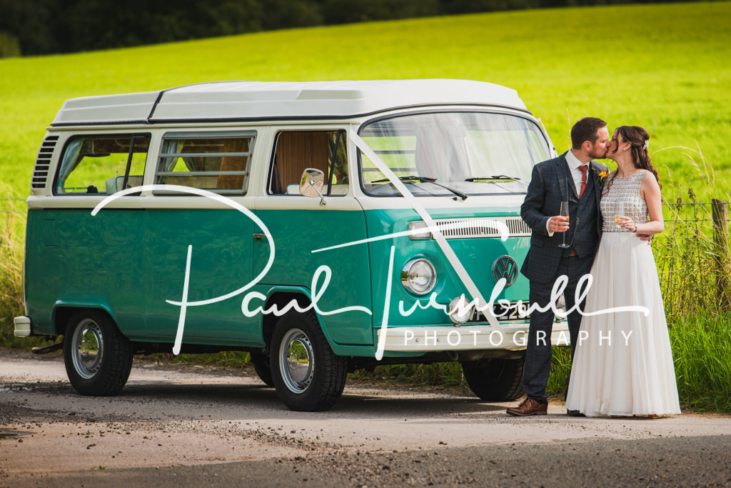 Newlyweds Photographed with VW Camper Van after their Wedding at Woodlands Hotel in Leeds