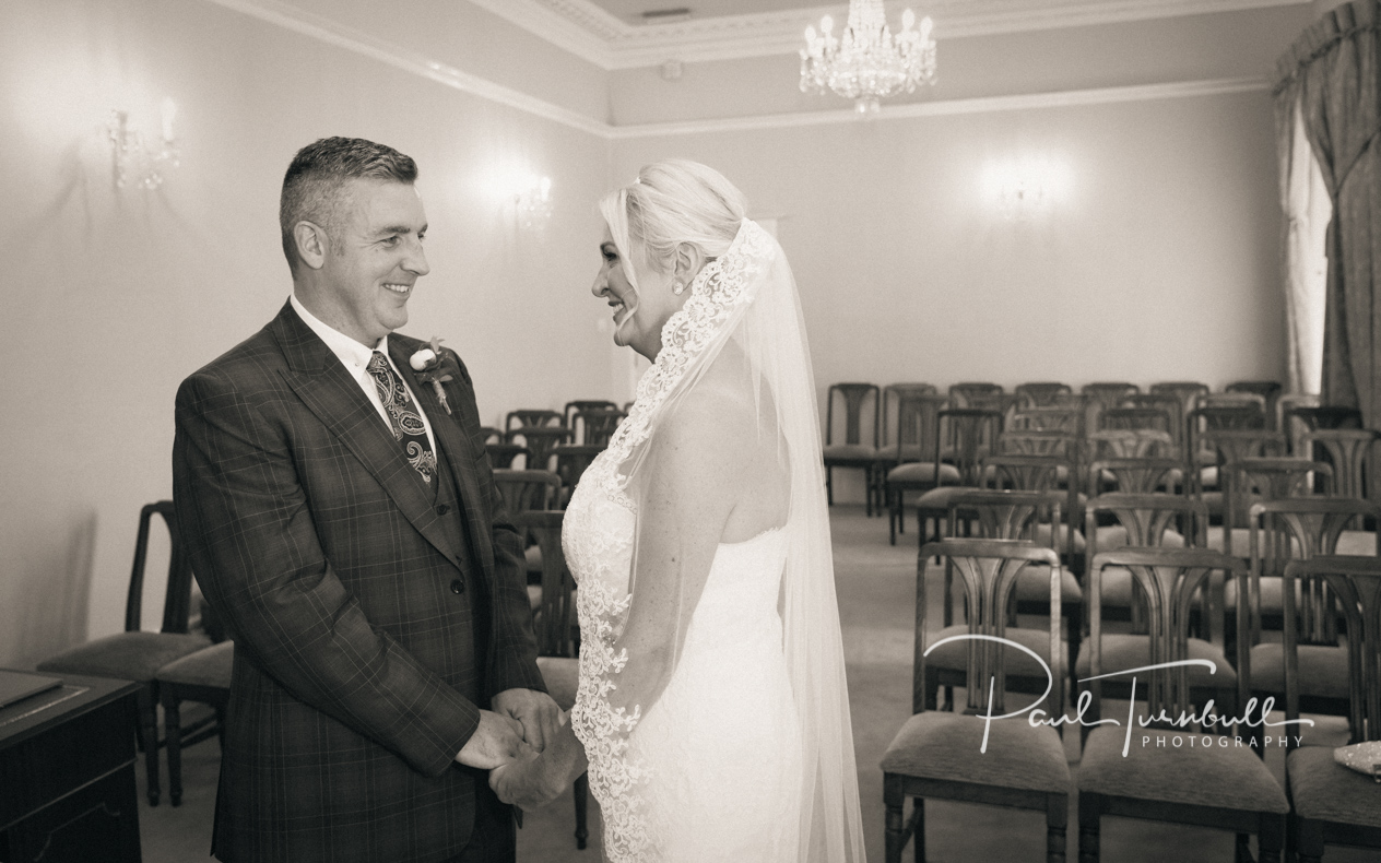 Bride and groom at Harrogate Register Office. Wedding Photographer Yorkshire