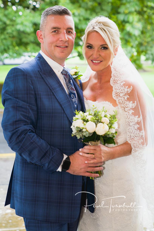Bride and Groom outside Harrogate Register Office. Wedding Photographer Yorkshire