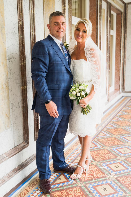 Bride and Groom Posing at Harrogate Register Office. Wedding Photographer Yorkshire