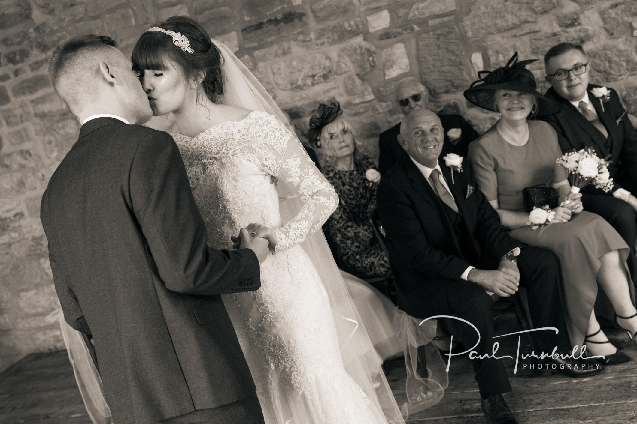 The first kiss - Raven Hall wedding