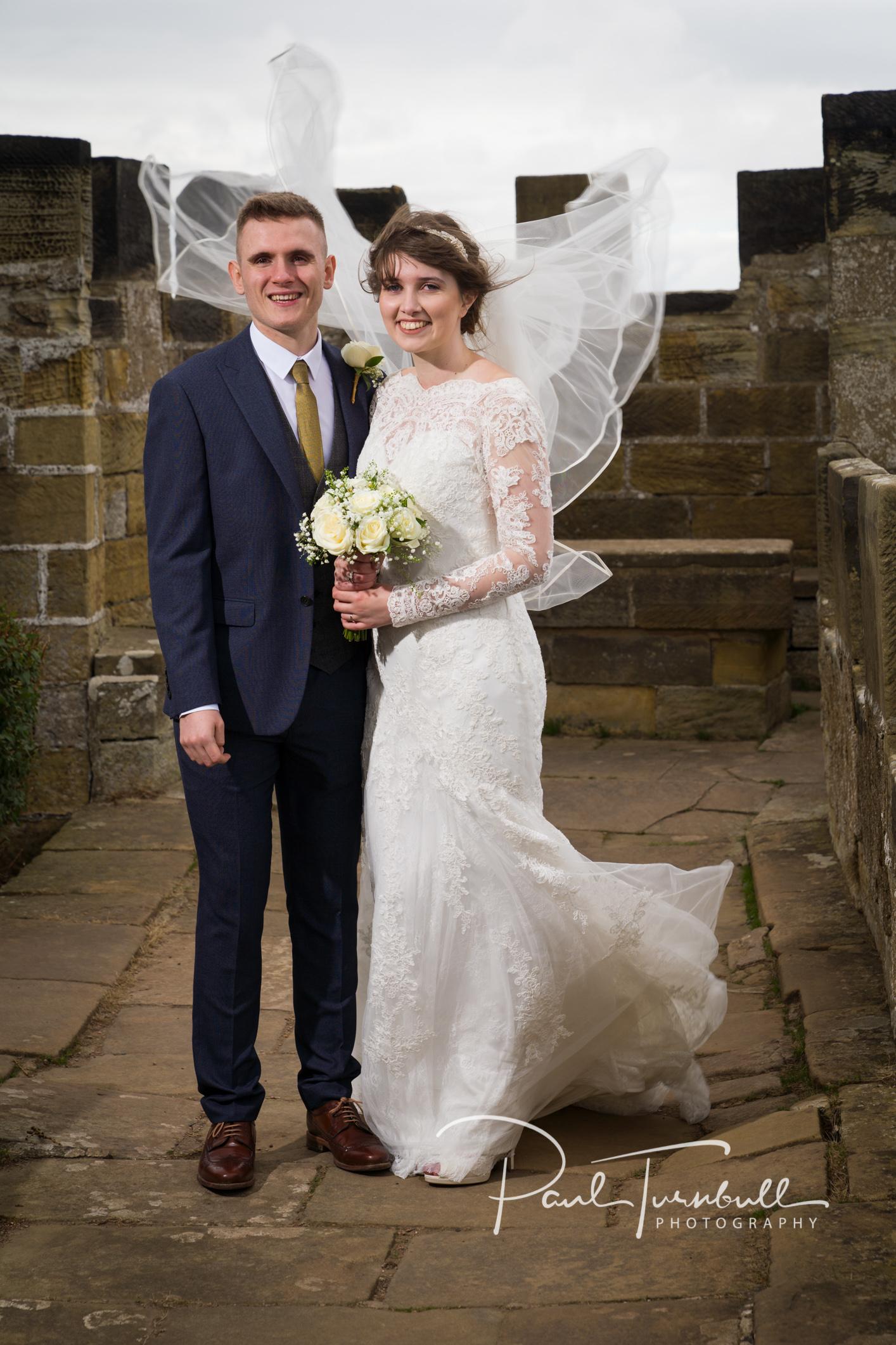 Windy wedding day at Raven Hall, Ravenscar