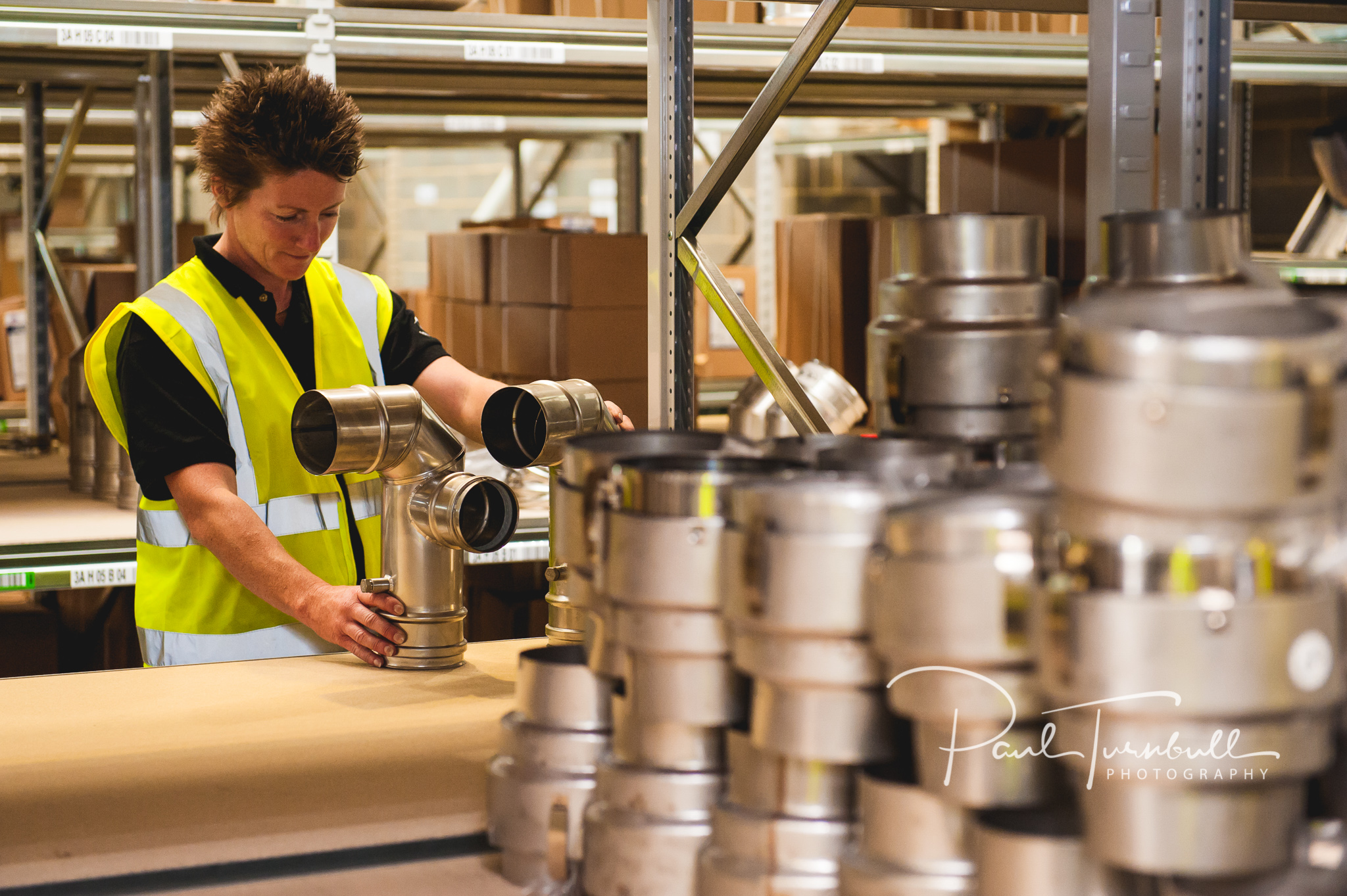 Environmental photography in the warehouse at SpecFlue