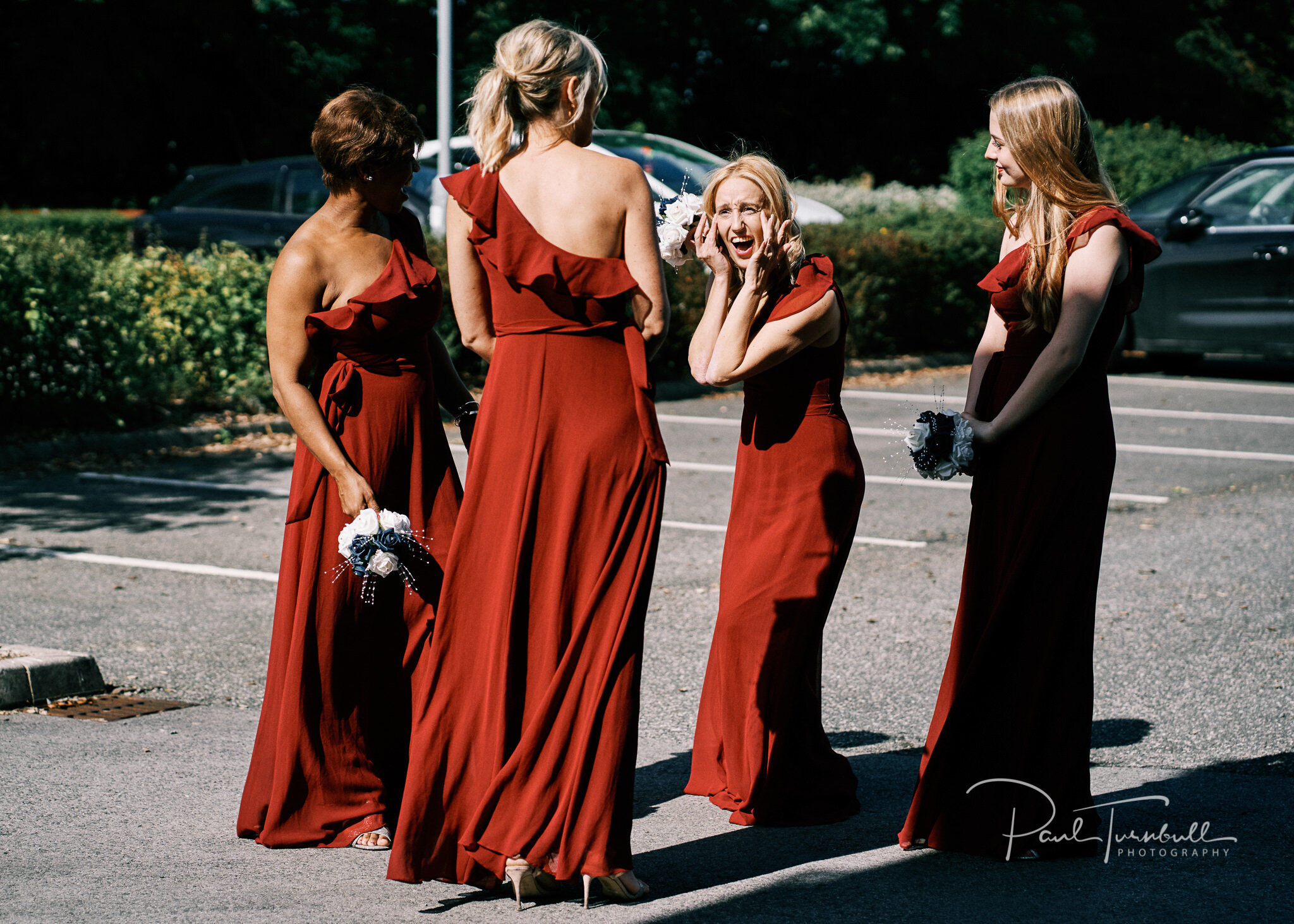 Excited bridesmaids outside Lazaat. Wedding photographer Hull