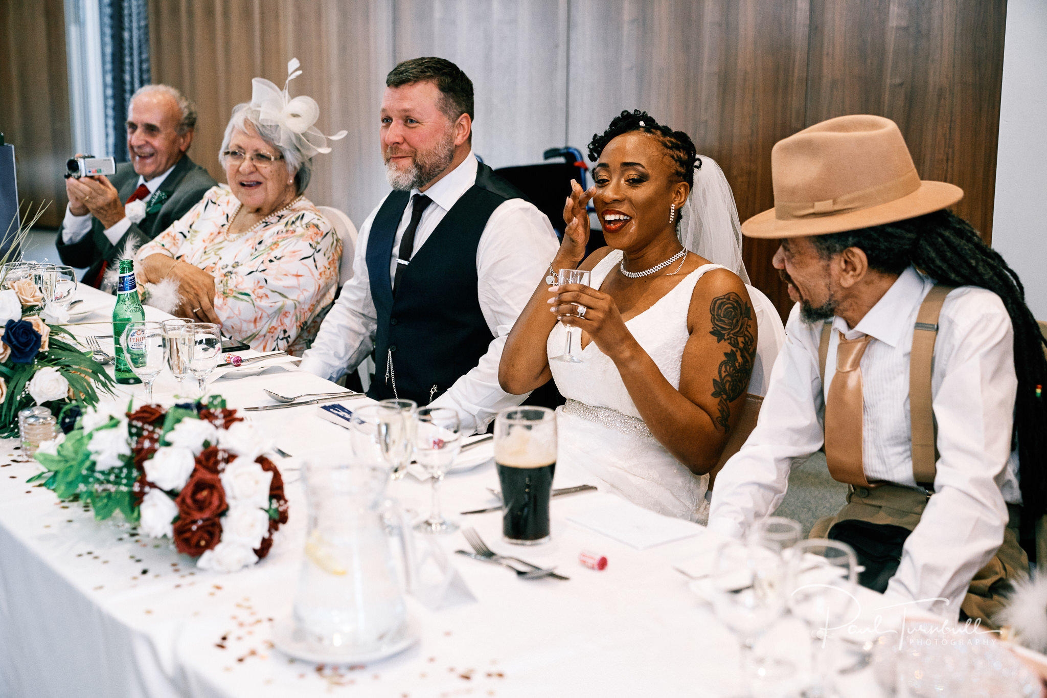 Wedding speeches at Lazzat. Bride and groom enjoying the gardens of Lazaat Hotel. Wedding photographer Hull