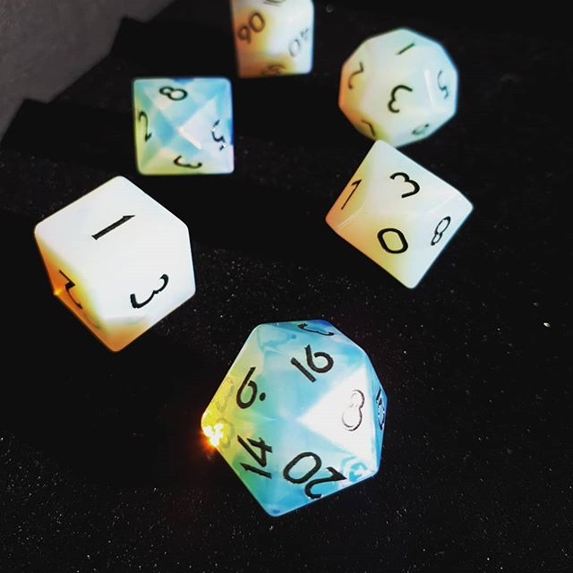 Opaline dice set birthday present! From @levelupdice  #brnau #bgg #boardgame #geek #Geekmedia #dice #myprecious
