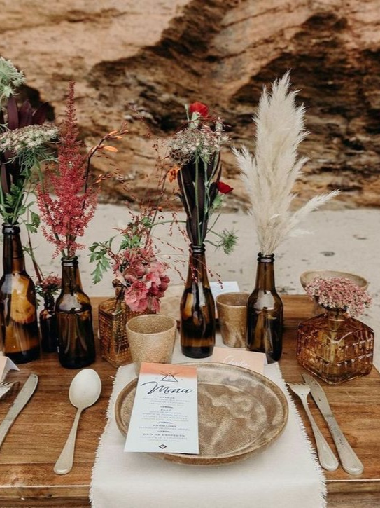 table-mariage-ecolo-chic-recup-fleurs