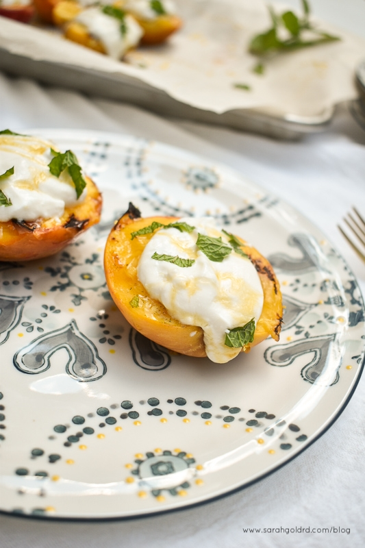 grilled peaches with whipped honey ricotta