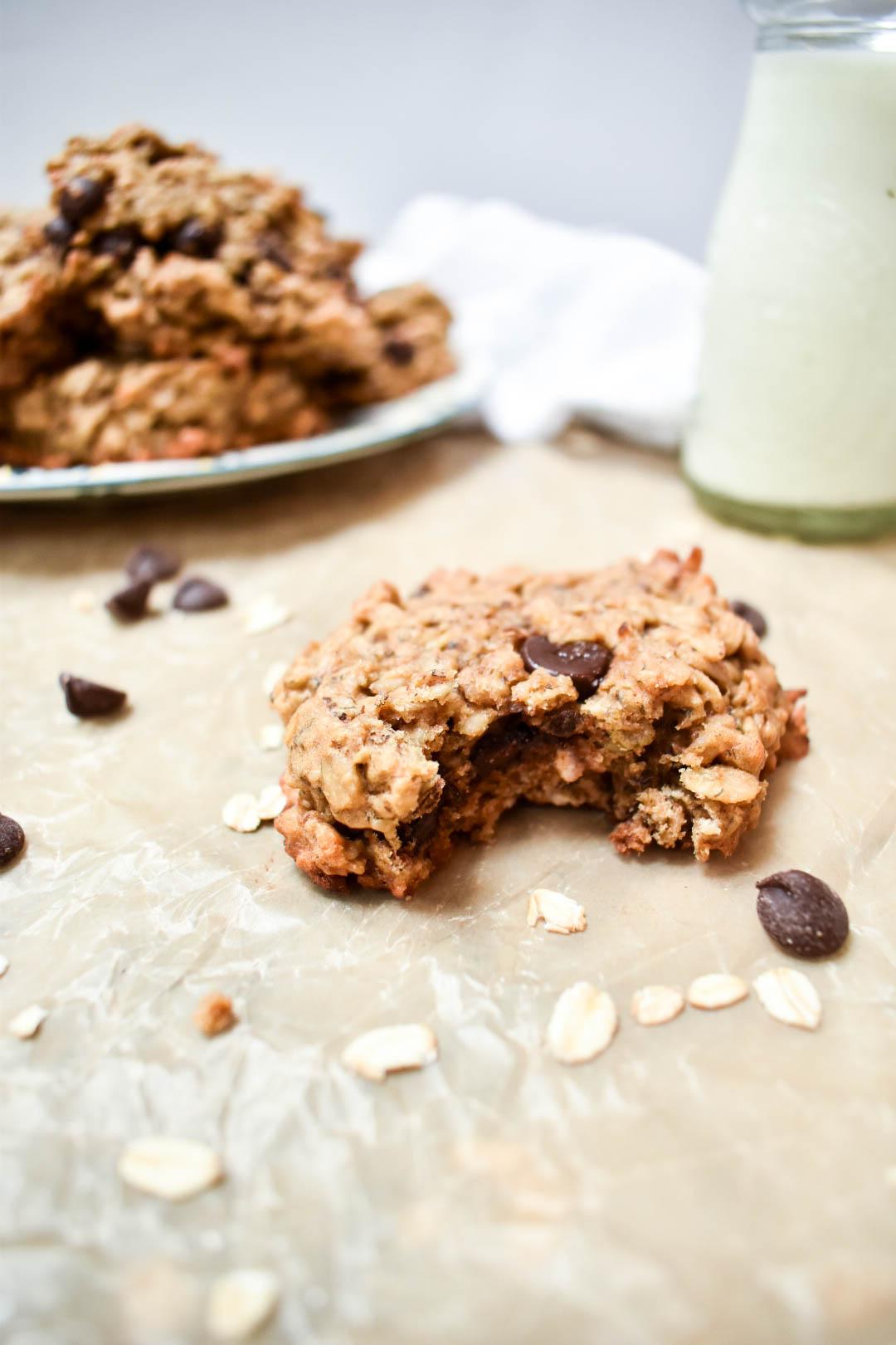 chocolate peanut butter banana oatmeal breakfast cookies